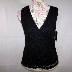 AGB Top Shirt Small Black Shimmer Lace Sleeveless